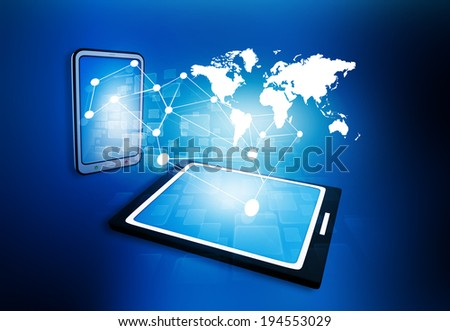 business network on tablet PC - stock photo