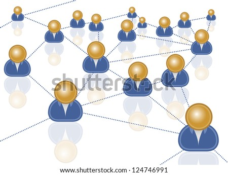 business network social connection through internet - stock photo