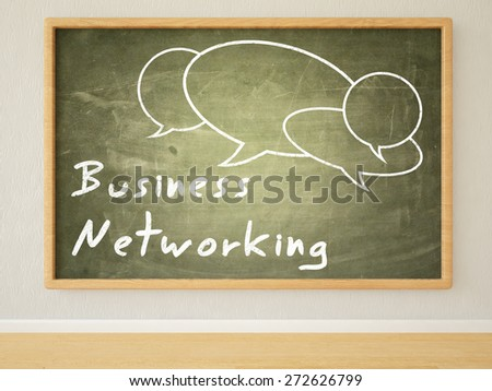 Business Networking - 3d render illustration of text on green blackboard in a room.  - stock photo
