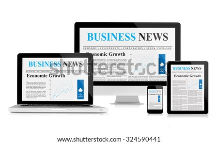 Business news feed on mobile devices - stock photo