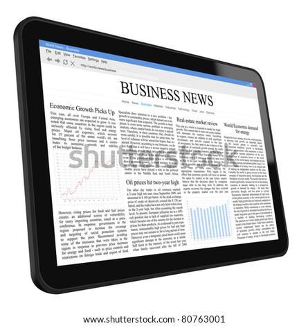 Business news on tablet pc. Include clipping path for tablet, screen and hand. - stock photo