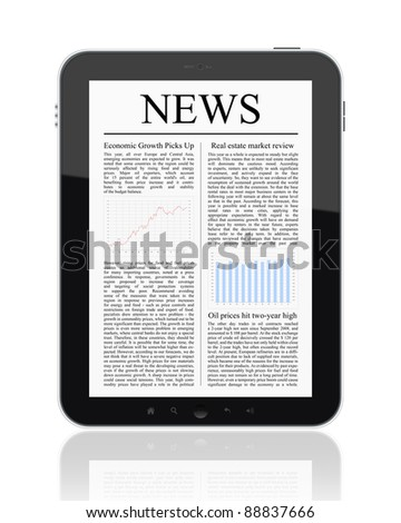 Business news on Tablet PC. Isolated on white. - stock photo