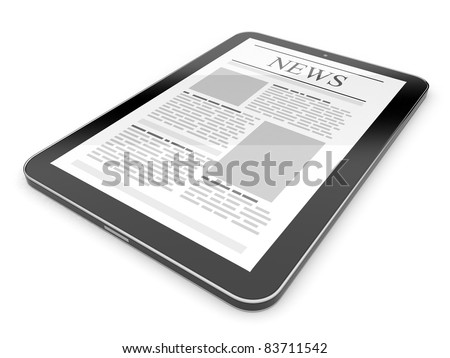 Business news on tablet pc. Mobile device concepts 3D.