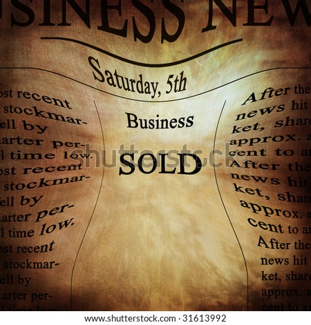 business news with 'sold' written on it
