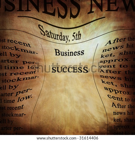 business news with success written on it