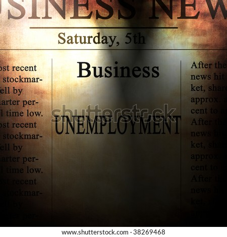 business news with unemployment written on it