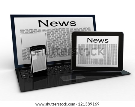 Business newspaper on tablet, laptop and smartphone. Mobile device concepts 3D. isolated on white - stock photo