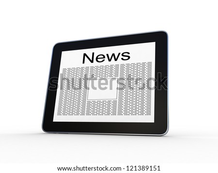 Business newspaper on tablet. Mobile device concepts 3D. isolated on white
