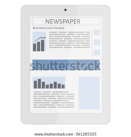 Business newspaper on tablet. Mobile news concept. Tablet and newspaper. Reading online news on tablet concept. Flat design. - stock photo
