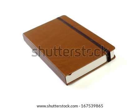 business notebook on white - stock photo
