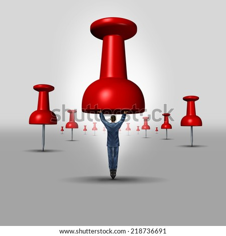 Business objective concept as a thumbtack or pushpin office icon with a businessman as the pin representing a target metaphor for investment and financial guidance excellence. - stock photo