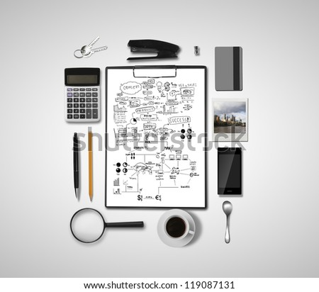 business objects and scheme business strategy - stock photo