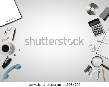 business objects on gray background - stock photo