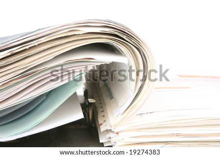 business objects open folder with documents copyspace - stock photo
