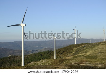 Business of windmills. Wind energy industry. - stock photo
