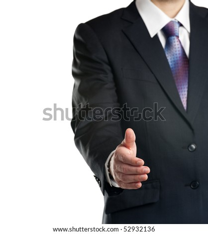 Business offering for handshake. Isolated on white background. - stock photo