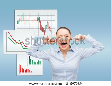 business, office and stress concept - angry screaming businesswoman - stock photo