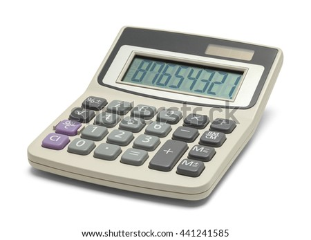 Business Office Calculator Isolated on White Background. - stock photo