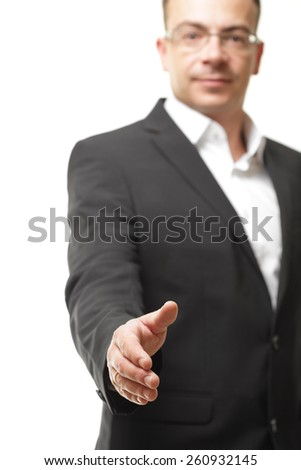 business office concept - businessman showing shake hand symbol - stock photo