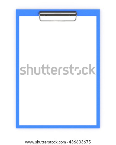 Business office concept: clipboard with blank sheets of paper isolated on white background. 3d illustration - stock photo