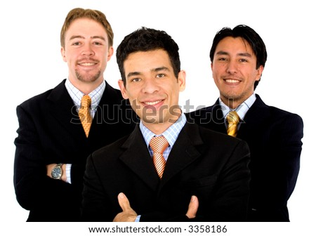 Business office teamwork where there are only men - all smiling - isolated over a white background - stock photo