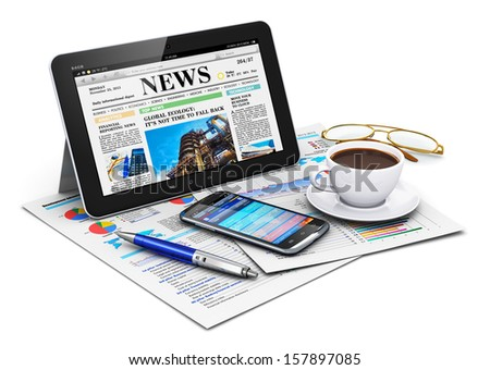 Business office work and mobile workplace corporate concept: tablet computer with finance news website, stack of financial report documents and smartphone with accounting application isolated on white - stock photo