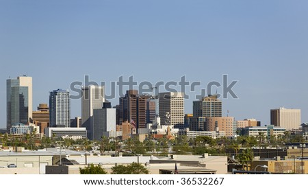 Business Offices in Skyscrapers and Highrise Buildings in Phoenix Downtown, AZ - stock photo