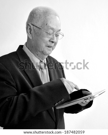 Business Old Man On White Background., black and white , B&W - stock photo