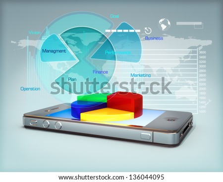 Business on a smartphone ,Modern media touch screen technology, smartphone connecting information to the world, pie charts and graphs business growth and finance concept.3d model scene - stock photo