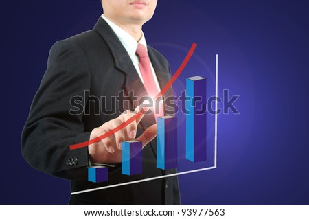 Business on during touch with graph which growth up