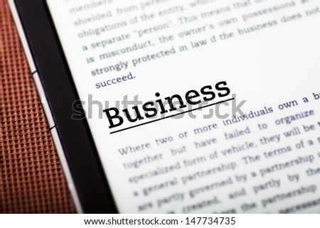 Business on tablet pc screen, ebook concept