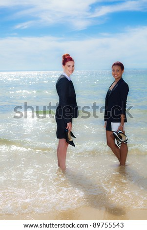 Business on the beach - stock photo