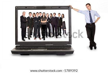 business online team in a laptop computer with a businessman next to it - stock photo
