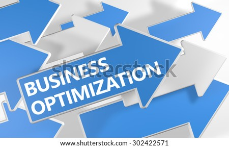 Business Optimization - 3d render concept with blue and white arrows flying over a white background. - stock photo