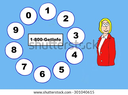 Business or education cartoon showing a woman, a telephone dial pad and '1-800-GetInfo'. - stock photo