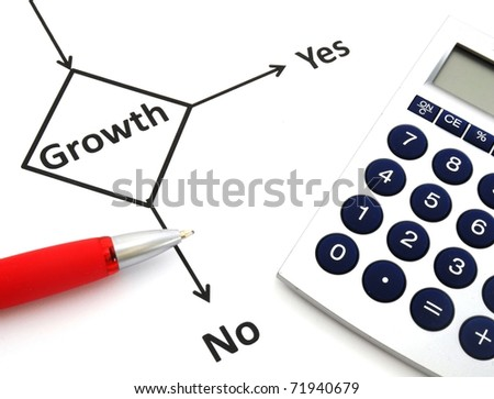 business or finance concept with word growth in flow chart