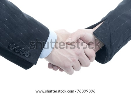 Business or friendly handshake between man and woman