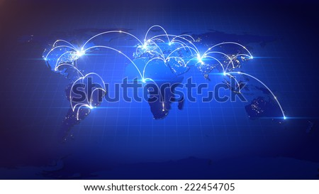 Business or Internet Concept of Global Network. - stock photo
