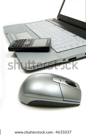 Business or personal productivity tools on white including a computer, mouse and  cellular telephone includes path for screen - stock photo