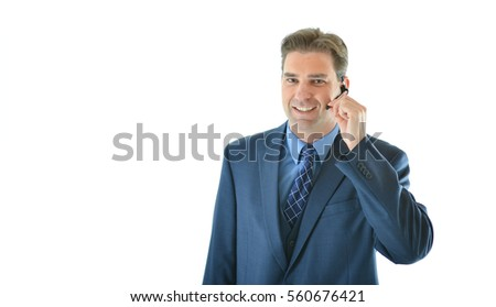 Business or sales man presenting or on a call with a client or customer service representative helping people