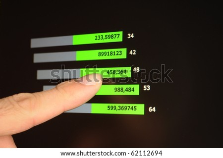 business or stock market data on computer lcd screen - stock photo
