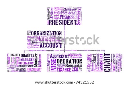 Business organization chart info text design and arrangement concept on white background. - stock photo