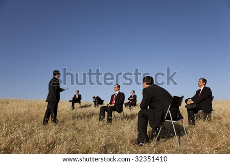 business outdoor training, with a presentation for a group of businesspeople - stock photo