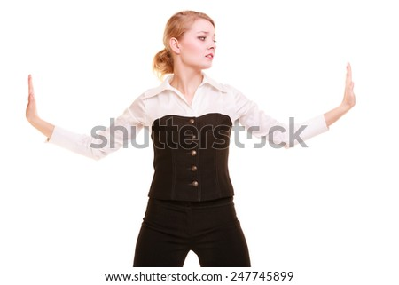 Business. Overworked businesswoman pushing away virtual problem blank copy space isolated on white. Stressed woman moving invisible obstacle. - stock photo