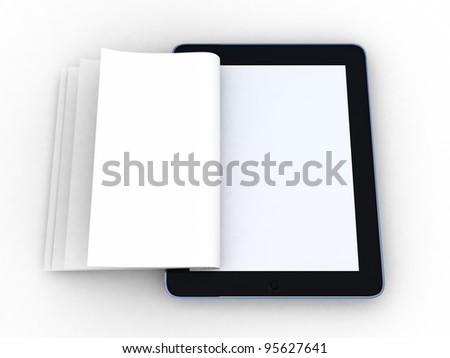 Business paper on tablet. Mobile device concepts 3D. isolated on white - stock photo