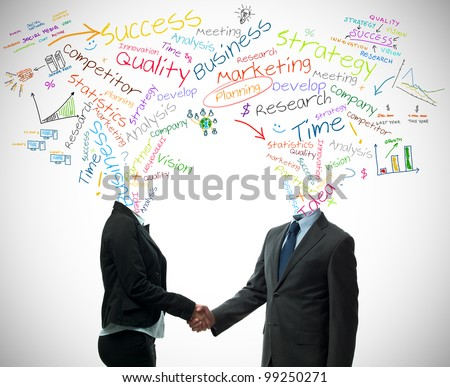 Business partner handshake with business words concept - stock photo