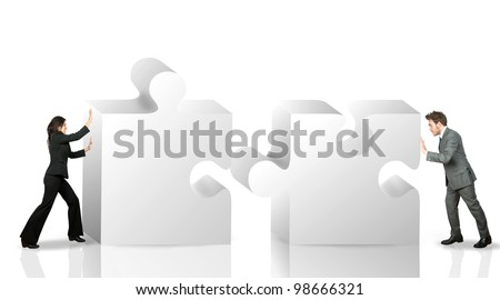 Business partner move puzzle pieces - stock photo