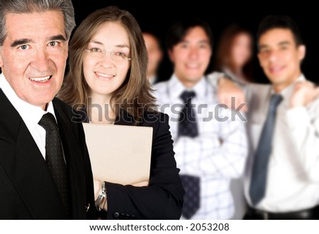 business partners and their team over a black background - stock photo