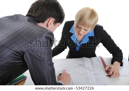 Business partners are considering drawing. Isolated on white background - stock photo