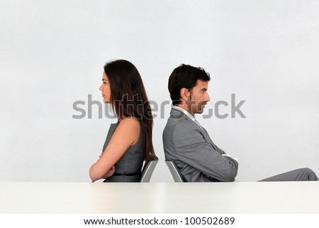 Business partners being upset at each other - stock photo